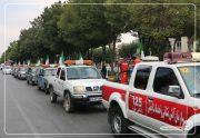 اجرای مانور خودرویی اعلام وضعیت خطر و هشدار کرونا در شاهین شهر